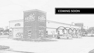 architecture pencil drawing of club car wash location from front with coming soon banner
