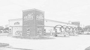 architecture pencil drawing of club car wash location from front